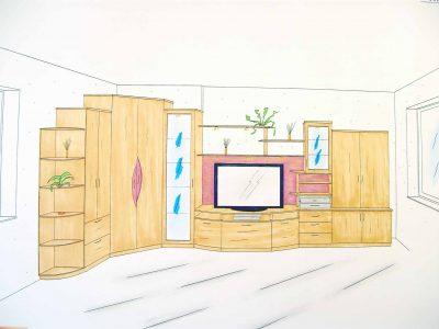 Skizze Wohnzimmer Möbelfachhandel in St. Pölten